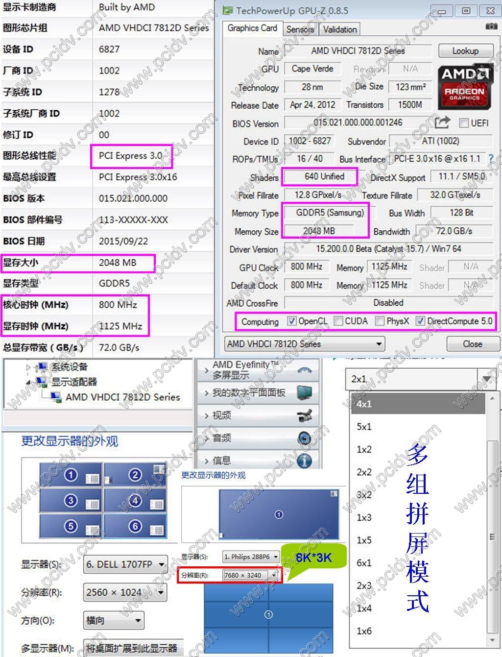 pcidv.com/拼接屏12屏显卡VHDCI 7812D硬件参数及组屏模式