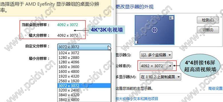 pcidv.com/4K*3K超高清4096*3072大屏拼接16屏电视墙