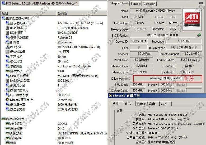 pcidv.com/hd 6300双VGA/HDMI双屏显示卡驱动支持windows 2008系统