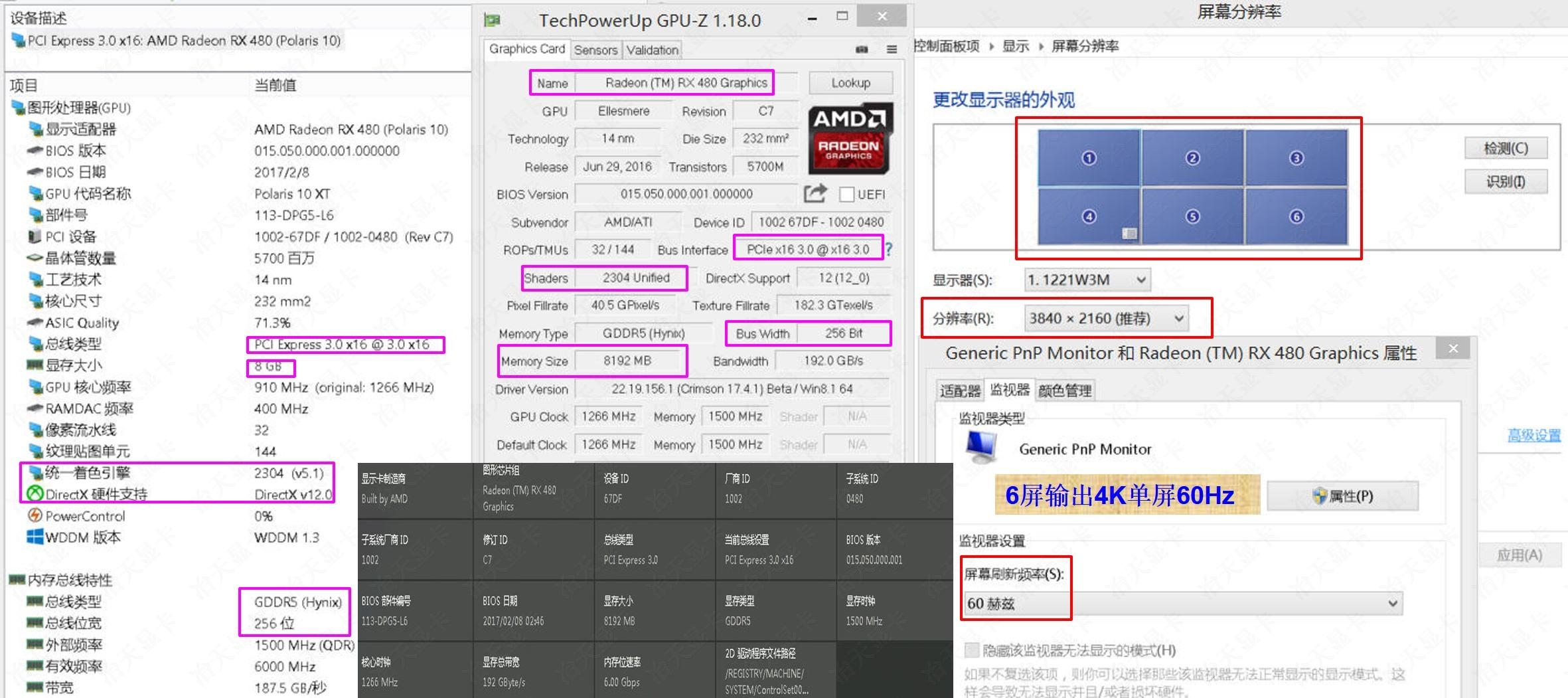 pcidv.com/8GB冶天RX480一机6屏显卡6DP分屏输出4K 60Hz