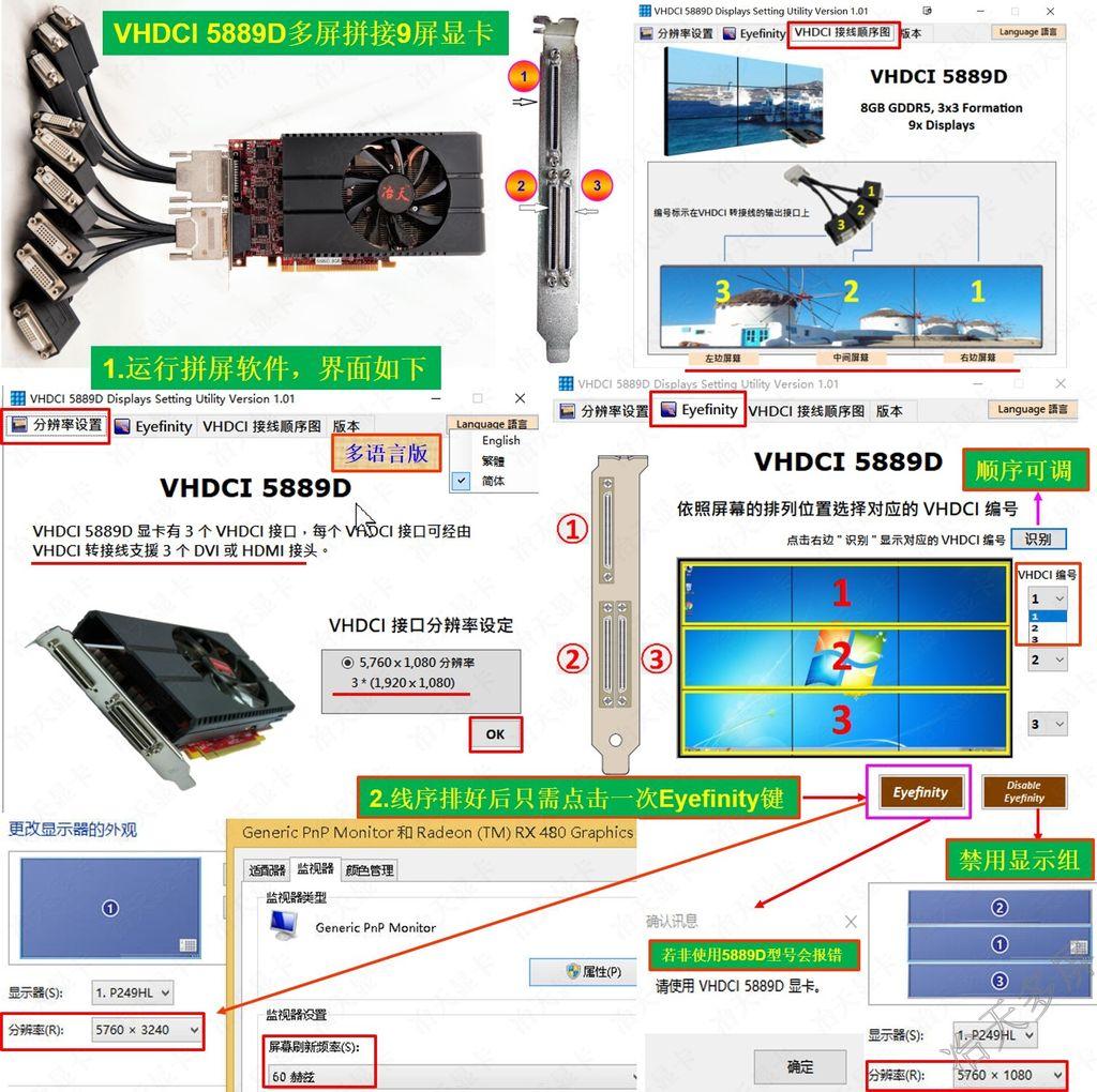 9屏显卡多屏拼接点对点显示软件设置方案液晶屏3X3