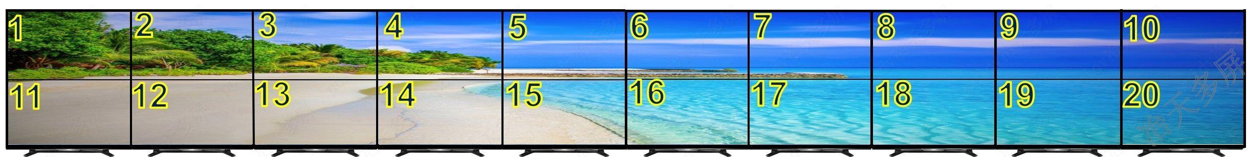 20屏拼接点对点显示液晶电视墙2行10列19200x2160