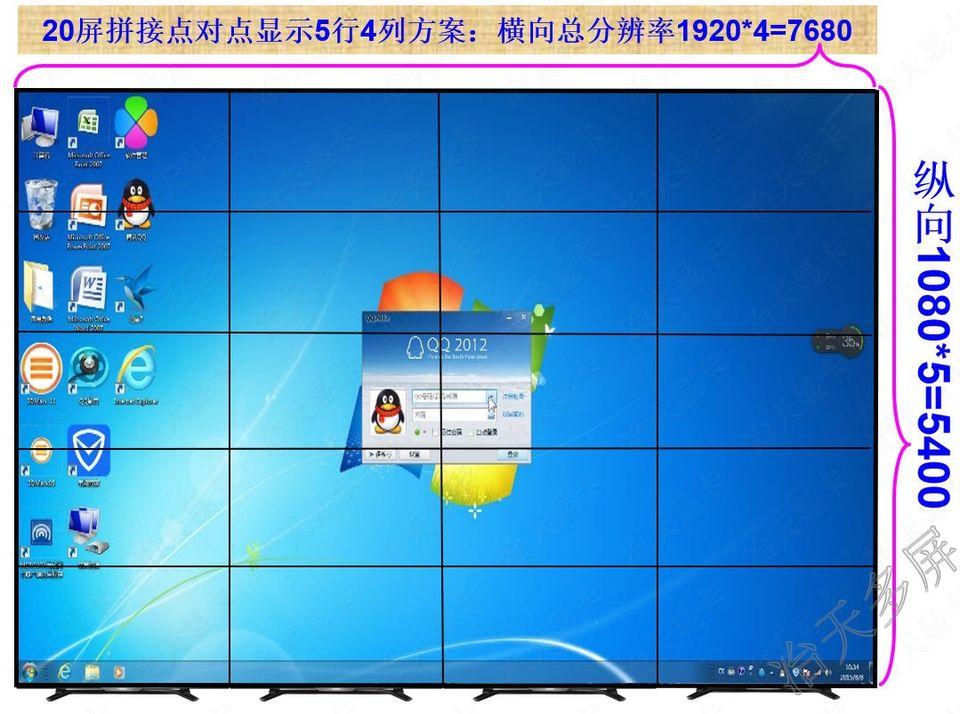 多屏显卡20屏拼接点对点显示5行4列视频液晶墙