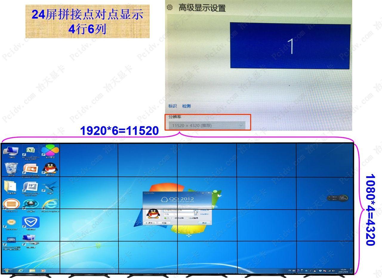 24屏拼接点对点显示多屏输出4行6列液晶大屏幕墙