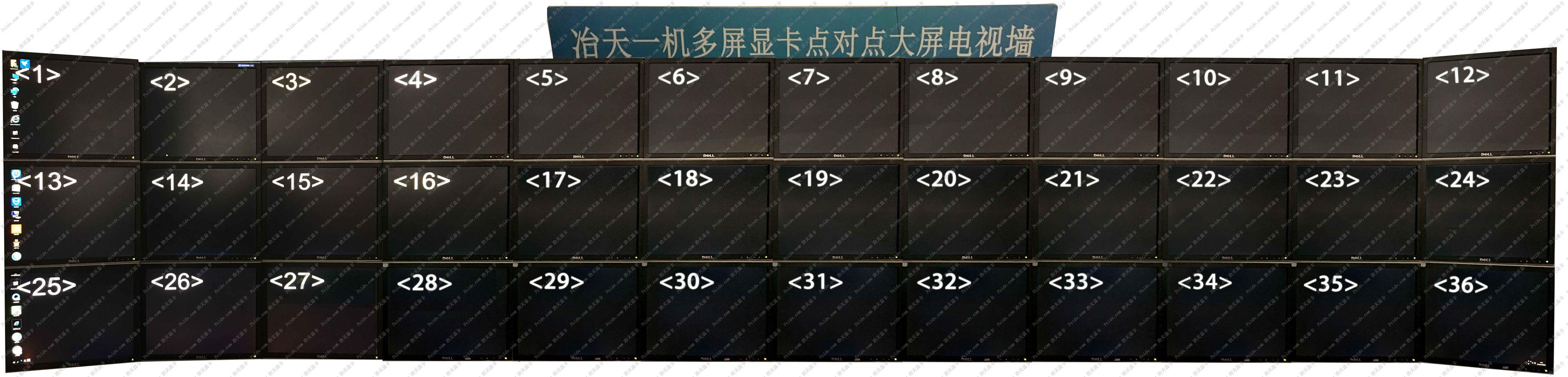 一机36屏单人操作一套键盘鼠标控制36个显示端分屏显示