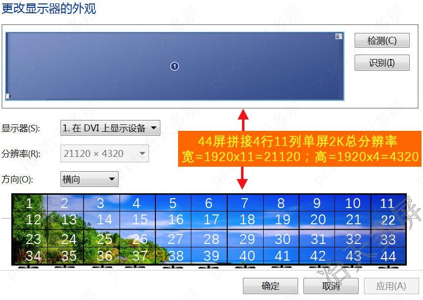 4屏拼接点对点显示4行11列电视拼接完整大桌面