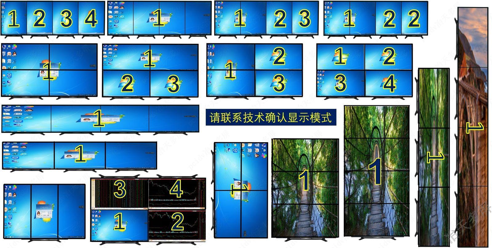 1行4列旋转纵向多屏拼接4屏显卡选择冶天显卡