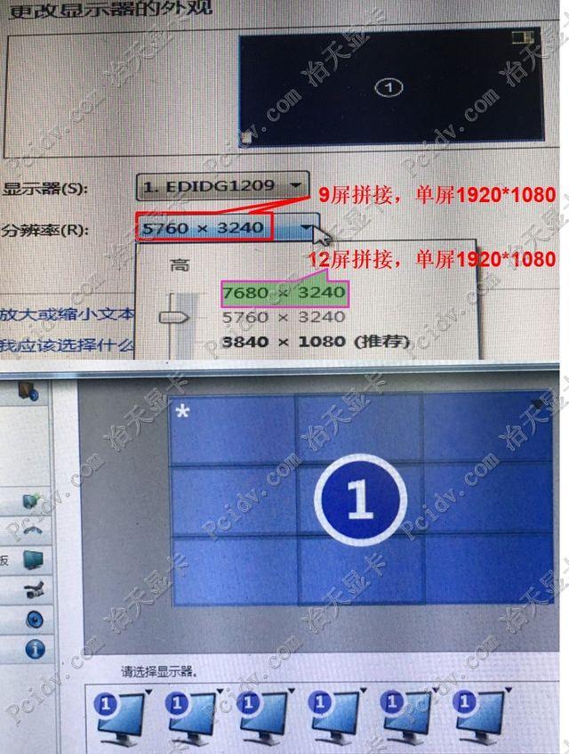 pcidv.com/单卡一机12屏显卡9屏显卡5760x3240输出点对点